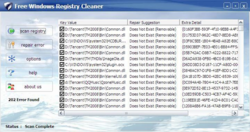 Free Windows Registry Cleaner screen