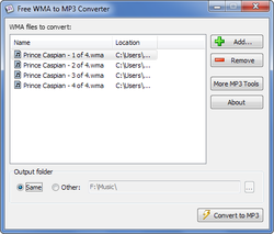 Free WMA to MP3 Converter screen1
