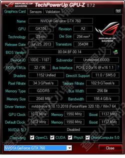GeForce GTX 760 caractéristiques