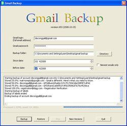 Gmail Backup screen 1