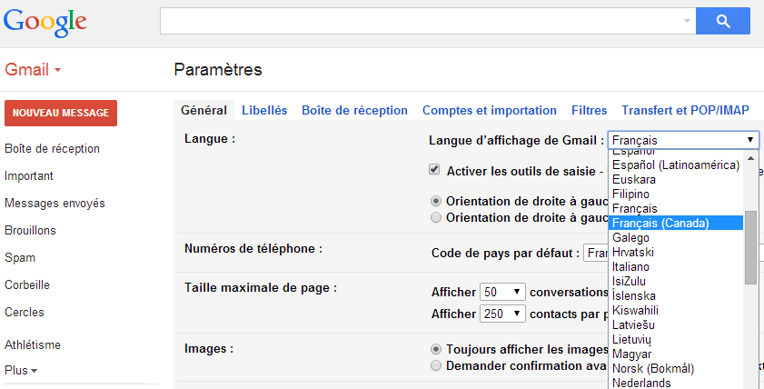 Gmail-langues