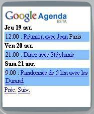 Google agenda mobile