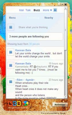 Google Buzz Desktop screen 2