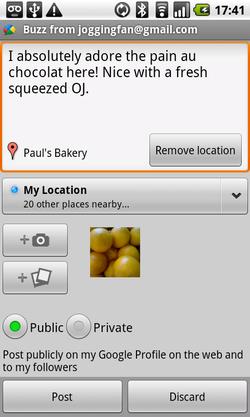 Google Buzz widget Android 02