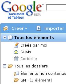 Google document tableur