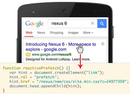 Google-mobile-prechargement-reactif