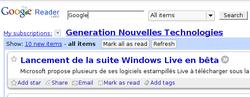 Google reader recherche