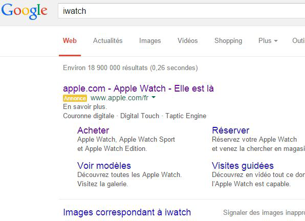 Google-recherche-iWatch-lien-sponsorise-Apple