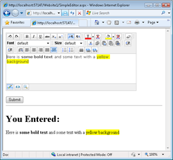HTML Editor ASP.NET AJAX screen