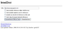 HTML2TXT screen1
