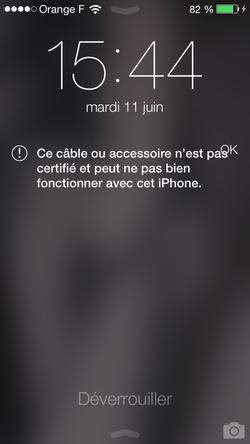 iOS 7 bloque câbles