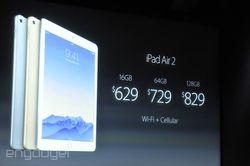 keynote Apple iPad Air 2 prix LTe
