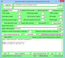 Keywords Meta Tag Generator