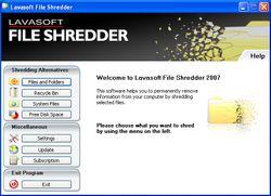 Lavasoft File Shredder screen 2