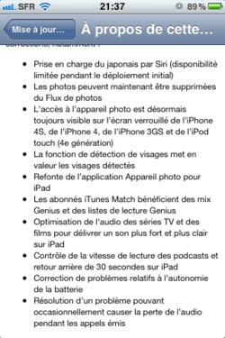 maj iOS