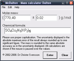 McDalton-Mass calculator Dalton