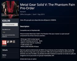 Metal Gear Solid V The Phantom Pain - PS Store