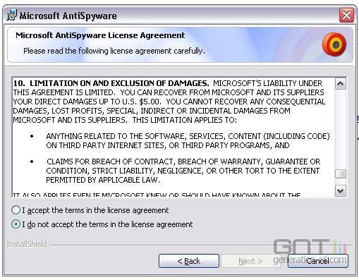 Microsoft antispywares eula