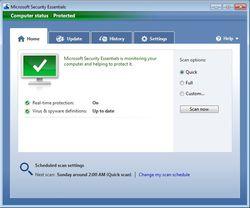 Microsoft Security Essentials screen1