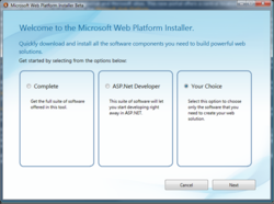 Microsoft Web Platform Installer screen
