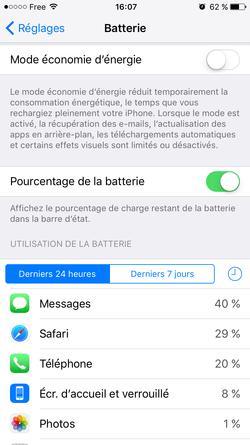 Mode Économie Énergie iOS 9