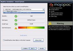 MojoPac screen 1