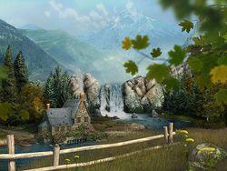 mountain waterfall screen