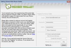 Moxier Wallet screen