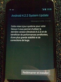 Nexux 4 mise jour Jelly Bean