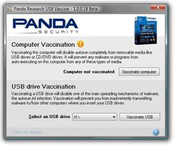 Panda USB Vaccine screen