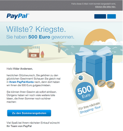 paypal erreur loterie