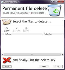 Permanent File Delete screen 2