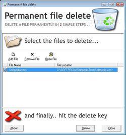 Permanent File Delete screen