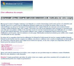 Phishing Hotmail mai 2009