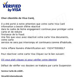Phishing Visa septembre 2009 1