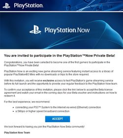 PlayStation Now - invitation