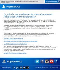 PlayStation Plus - augmentation tarif septembre 2015