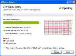 Quicksys RegDefrag screen 1