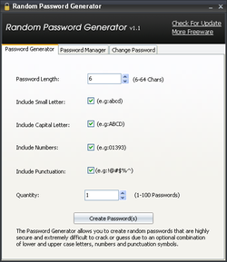 Random Password Generator screen1