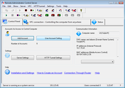 Remote Administrator Control Client screen 1