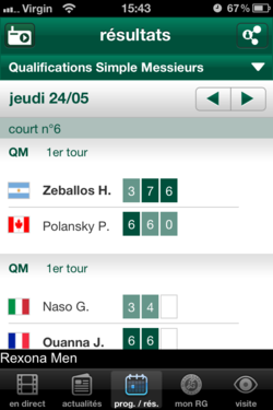 Roland Garros 2012 iOS 2