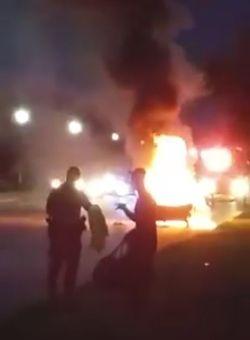 Samsung Galaxy incendie véhicule