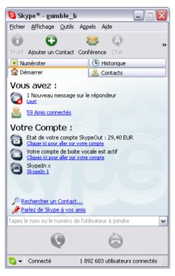 Skype 3.1.0.144 pour Windows (350x550)