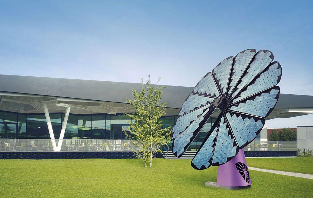 smartflower tm d 39 edf enr un tournesol motoris pour produire de l 39 lectricit solaire. Black Bedroom Furniture Sets. Home Design Ideas