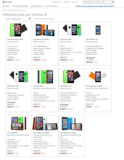 Smartphones prets windows 10