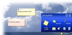 StickyPad screen