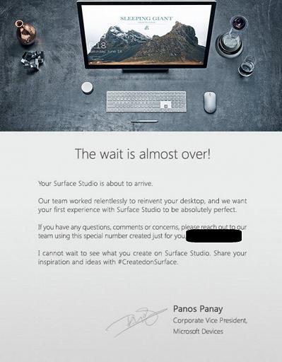 Surface Studio livraison