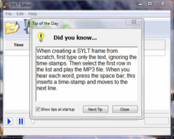 The SYLT Editor screen 2