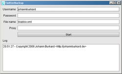 TwitterBackup screen