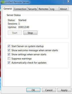 Unified Remote Server screen1